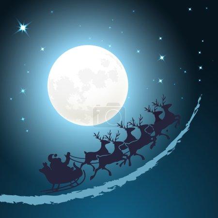 Illustration pour Père Noël sur son traîneau fond de Noël chevauchant à travers un ciel bleu crépusculaire en face de la pleine lune avec des étoiles scintillantes format carré de conception de carte vectorielle - image libre de droit