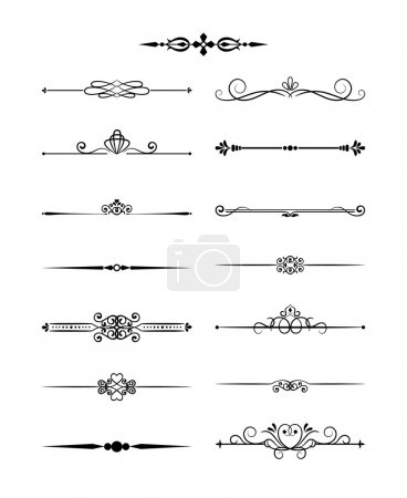 Illustration for Floral design elements vintage dividers in black color. Page decoration. Vector illustration. Isolated on white background. Can use for birthday card, wedding invitations - Royalty Free Image