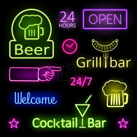 Illustration pour Luminaires au néon colorés assortis pour panneaux de bar sur fond noir - image libre de droit