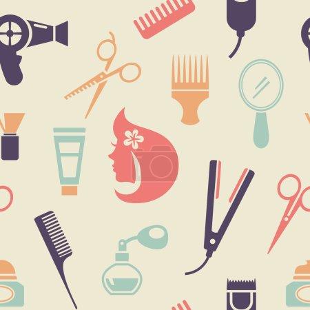 Illustration pour Simple coloré Barbershop Pattern Graphic Design dans un style plat sur fond brun très clair . - image libre de droit