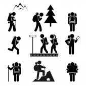 Pěší turistika lidé ikony