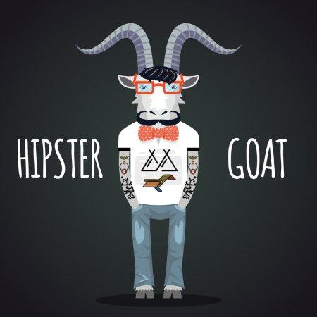 Illustration pour Hipster chèvre portant des lunettes à la mode avec noeud papillon et moustache. Espace pour le texte - image libre de droit