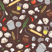 Kitchen and food seamless vector pattern for menu and another restaurant design