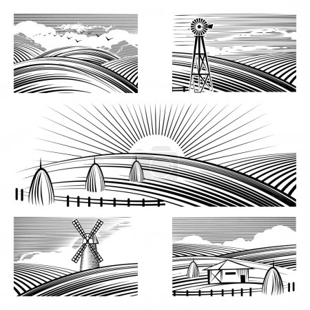 Illustration for Retro rural landscapes. Set in rural landscapes painted black lines. Vector illustration - Royalty Free Image