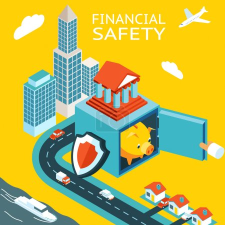 Illustration for Financial safety and money making. Open safe with piggy bank pig. Skyscraper, homes. The concept of capital protection. Vector illustration - Royalty Free Image