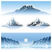Cartooned Winter Mountains Graphic Designs with Full Moon