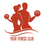 Fitness logo with muscled man and woman silhouettes Man and woman holds dumbbells Vector illustration