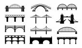 Vector bridges silhouettes icons