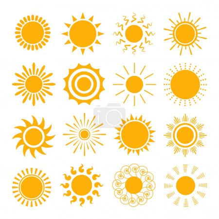 Illustration for Orange Sun icons. The sun sets straight, florid and twisted rays on white background. Vector illustration - Royalty Free Image