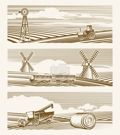 Illustration for Agriculture landscapes. Set of sketches or engraving harvest with appliances. Vector illustration - Royalty Free Image