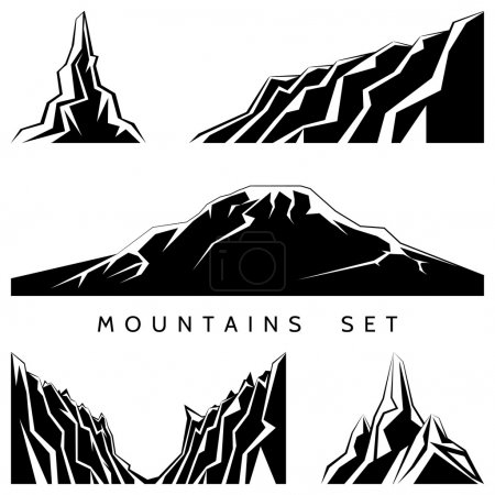 Illustration for Mountains silhouettes set. Painted black and white mountains. Vector illustration - Royalty Free Image