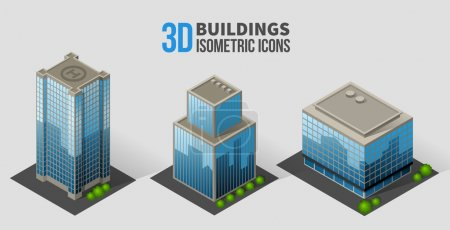 Illustration for Vector skyscrapers with trees, isometric buildings of glass and concrete. 3D icons in the form of a skyscraper with glass facades, and bushes around - Royalty Free Image