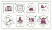 Assorted Retro Tailor Labels or Needleworks Emblems Graphic Designs on White Background