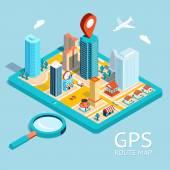 Mapa trasy GPS. Město navigační aplikace