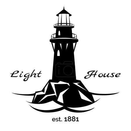 Illustration for Lighthouse logo for for maritime companies, corporations and businesses on maritime transport - Royalty Free Image