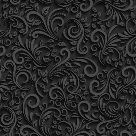 Vector black floral seamless pattern with shadow. ...