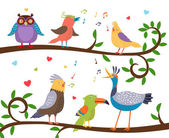 Variety of colorful birds sitting on a tree branch with leaves and tweeting Vector illustration