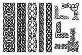 Set of celtic patterns and celtic ornament corners in black Vector illustration