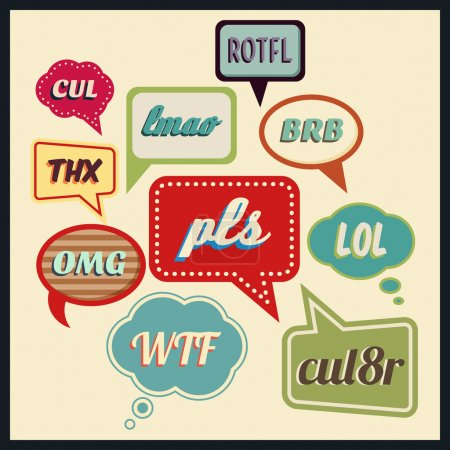 Illustration for Set of multicolored speech bubbles with frequently used abbreviations. Vector illustration - Royalty Free Image