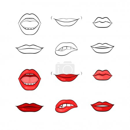 Set of vector woman red lips and without color. Mo...