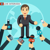 Man in a suit being interviewed Being photographed and recorded on a dictaphone Vector illustration