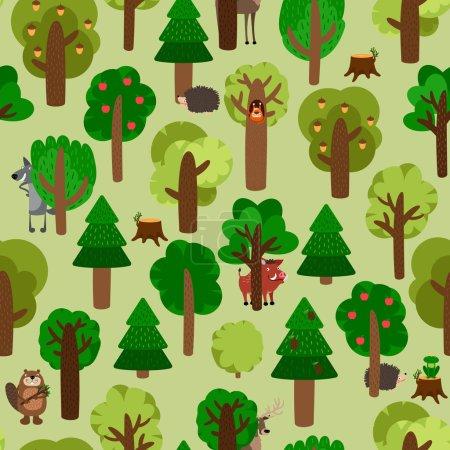Illustration pour Modèle sans couture d'arbres verts avec des animaux. Hérisson, sanglier, écureuil, loup, castor et cerf. Illustration vectorielle - image libre de droit