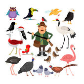 Fowling Birds and Hunter vector illustration