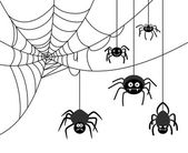 Spiders weave a cobwebs Dangerous insect spider webs Vector illustration