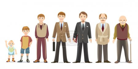 Illustration for Generation of men from infants to seniors. Child and teenager, boy and an elderly man. Vector illustration - Royalty Free Image