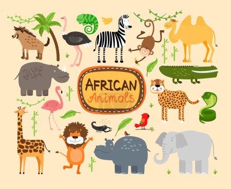 Photo pour Ensemble d'animaux vecteurs africains. Des prédateurs léopard et lion. Éléphant et hippopotame, girafe et chameau - image libre de droit