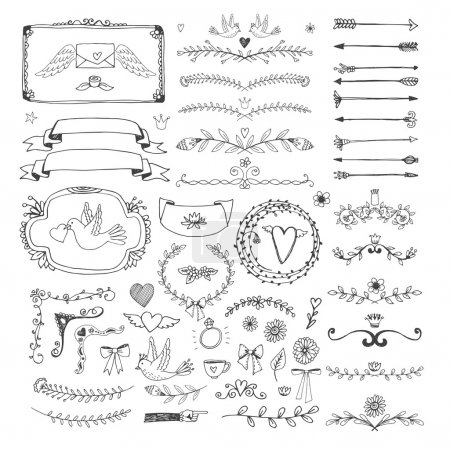 Illustration for Set of hand drawn floral page elements. Swirls, ribbons, frames, arrows, dividers, banners and curls for decoration and scenery. Vector illustration - Royalty Free Image