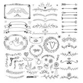 Set of hand drawn floral page elements Swirls ribbons frames arrows dividers banners and curls for decoration and scenery Vector illustration