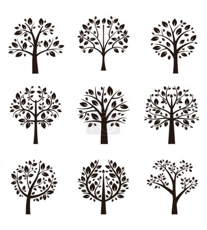 Illustration for Set of different trees silhouette with roots and branches for logo, label, sign or tattoo. Vector illustration - Royalty Free Image