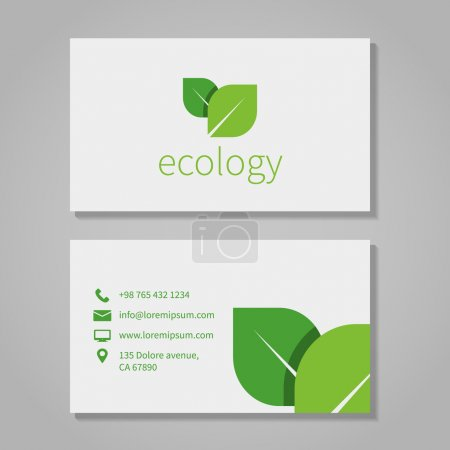 Illustration for Ecological or eco energy company business card template with green leaves. Cutaway and contact details. Vector illustration - Royalty Free Image