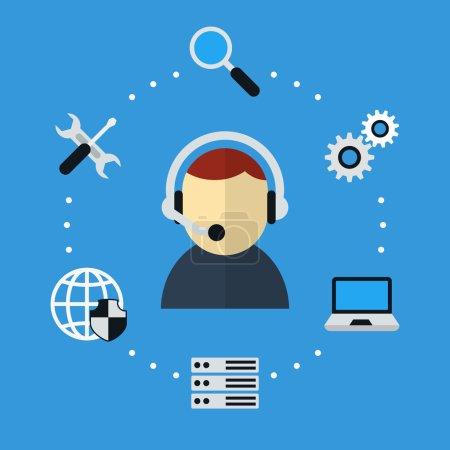 Illustration pour Icône de support informatique et technique. Centre de données et support, maintenance et administrateur système. Illustration vectorielle - image libre de droit