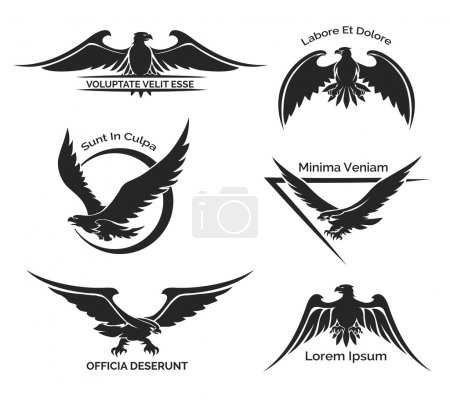 Set of black eagle logo for business, company and ...