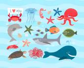 Vector set of cute sea animals Dolphin and octopus and turtle jellyfish and sea horse shark and cancer whale and fish starfish and corals