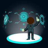 Futuristic interface Man pushes button
