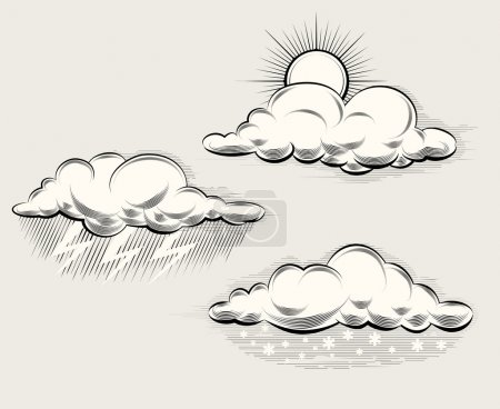 Illustration for Engraving weather. Sun behind a cloud, rain, snow and lightning and storm. Vector illustration - Royalty Free Image