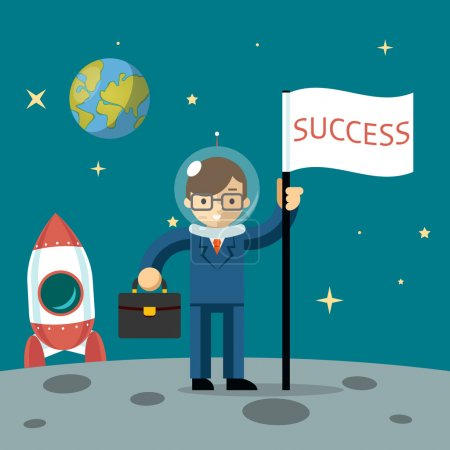 Illustration for Successful businessman gets the moon holding a flag and carrying case. Vector illustration - Royalty Free Image