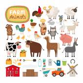 Set of vector farm animals and agricultural accessories Sheep and cow pig and horse rural life