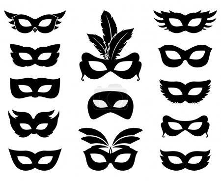 Illustration pour Ensemble de silhouettes de masque de carnaval isolé sur blanc. Mascarade et ornée, accessoire et anonyme. Illustration vectorielle - image libre de droit