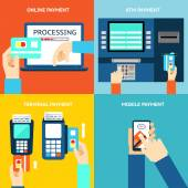 Payment methods Business and buy flat design and money Credit card cash mobile app and ATM terminal Vector illustration