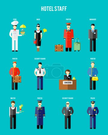Illustration for Vector hotel staff. Securityguard and police, receptionist and concierge, porter and waiter - Royalty Free Image