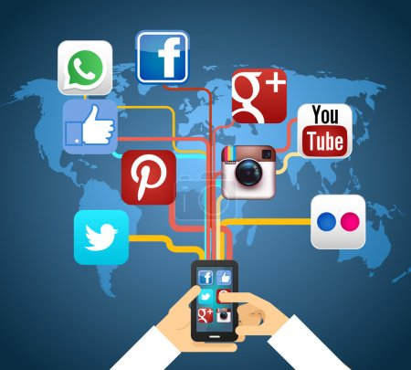 Illustration for Social networks in smartphone on map vector illustration - Royalty Free Image