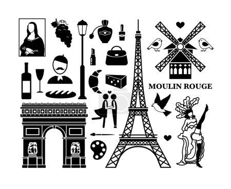 Illustration pour Ensemble d'icônes de Paris. Cosmétiques et Arc de Triomphe, Moulin Rouge et Tour Eiffel. Illustration vectorielle - image libre de droit