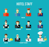 Set of hotel staff flat icon Securityguard and police porter and waiter receptionist and concierge Vector illustration