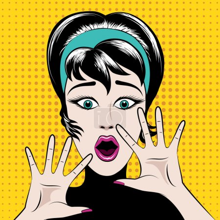 Illustration for Scared pop art woman with his mouth open and hands raised. Vector illustration - Royalty Free Image