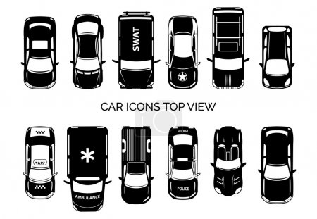 Illustration for Car icons top view. Auto and transportation, collection automobile, ambulance and police, taxi and swat. Vector illustration - Royalty Free Image