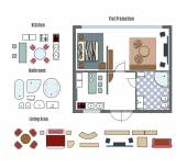 Vector projection and furniture icons